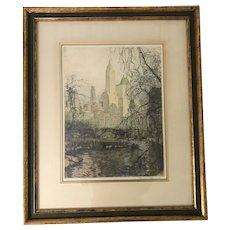 "Tanna-Kasimir Hoernes (1887-1972) ""New York Central Park South"" Etching Print"