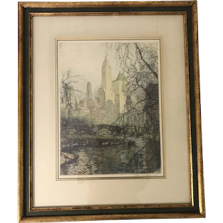 """Tanna-Kasimir Hoernes (1887-1972) """"New York Central Park South"""" Etching Print"""