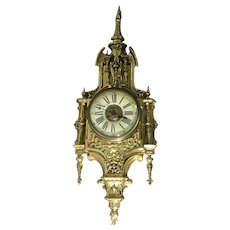 Antique Brass A.D. Mougin French Renaissance Style Cartel Wall Clock
