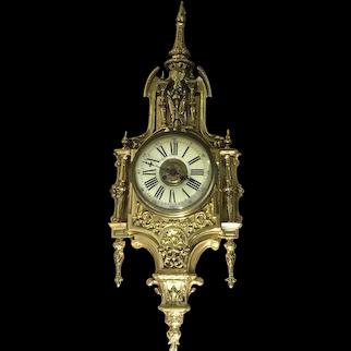 Antique Brass A.D. Mougin French Renaissance Style Cartel Wall Clock