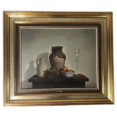 Javier Mulio (1957) Still Life with Pottery and Apples Oil on Canvas Painting