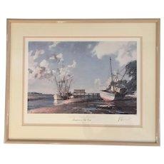 John Stobart (1929) Hilton Head Island SC Shrimp boats at Skull Creek Lithograph Print