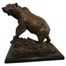 "Walter Matia (1953) ""Blueberry Baron"" Bronze Grizzly Bear Sculpture"