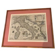 Antique 17th C. Henricus Hondius Hand Colored Engraved Map of Italy