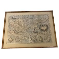 Antique 17th C. Mercator & Jodicus Hondius Hand Colored Engraved Map of Cyprus