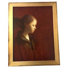 """Martin A. Poole (American,20th C) """"Tay"""" Portrait of a Girl Oil on Board Painting"""
