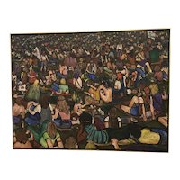 Vintage Woodstock Music Festival / Concert Oil on Canvas Painting