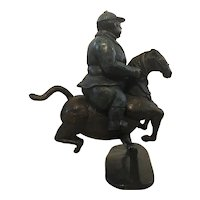 Bruno Luna (Mexican,1963) Man / Jockey Riding / Jumping a Horse Bronze Sculpture