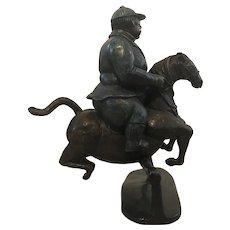 Bruno Luna (Mexican,1963) Man / Jockey Riding / Jumping a Horse Bronze Sculpture