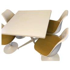 Knoll Eero Sarinen MCM Mid Century Modern White Dining Set Table & Tulip Chairs
