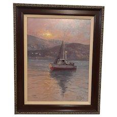 """Thomas Kinkade """"Sunrise, Sea of Galilee"""" Lithograph Print on Canvas"""