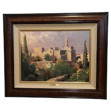 "Thomas Kinkade ""Tower of David"" Impressions of Israel Lithograph Print on Canvas"