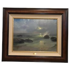 """Thomas Kinkade """"Pacific Nocturne"""" Archive Collection Lithograph Print on Canvas"""