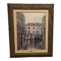 "Thomas Kinkade as Robert Girrard ""Montmarte"" France Lithograph Print on Canvas"