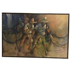 Alfredo Buenaventura (1942-1982)  Three Filipino Workers Oil on Canvas Painting