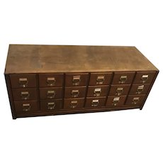 Vintage 18 Drawer Wooden Library Card File / Filing Cabinet.  Has some cosmetic wear as shown