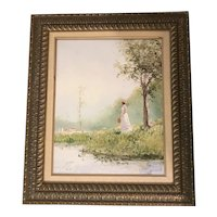"Thomas Kinkade as Robert Girrard ""Gazing"" Lithograph Print on Canvas"