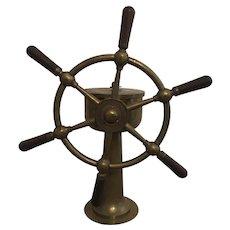 Vintage Brown Bros Co Rosebank Ironworks / Scuttle Butt Brass Ships Helm / Wheel