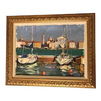 "Tony Green (1954) ""Venice Marina"" Italian Boats in Harbor Oil on Canvas Painting"