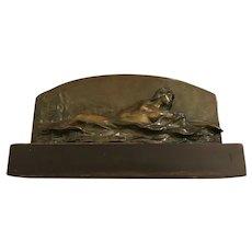 Stefan Schwartz (1851-1924) Reclining Nude in Forest Landscape Bronze Sculpture