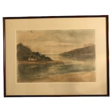 Samson Flexor (1907-1971) Coastal River Landscape Watercolor Painting