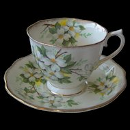 Vintage Royal Albert White Dogwood cup and saucer