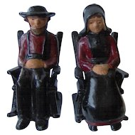 Vintage Cast Iron Amish Couple Salt and Pepper Shakers