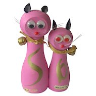Vintage Magnetic Pink Cat Salt and Pepper Shakers