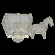 Vintage Glass Donkey and Cart candy container