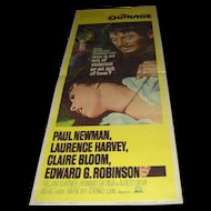 Vintage Movie Poster The Outrage with Paul Newman and William Shatner