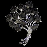 Vintage Black Roses Brooch signed J.J.