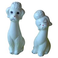 Vintage White Poodle Dog salt and pepper shakers