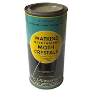 Vintage Watkins Naphthalene Moth Crystals Tin