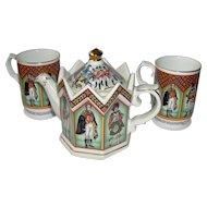 Vintage Sadler Teapot and Two Mugs