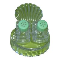 Vintage Glass salt and pepper shakers with turkey fan tail and glass tray