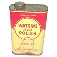 Vintage Watkins Red Polish Tin