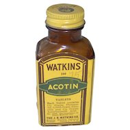Vintage Watkins Acotin Tablets Bottle