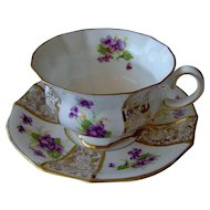 Vintage Purple Floral Cup and Saucer