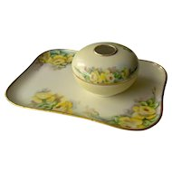 Vintage T and V Limoges France Dresser Tray and Hair Receiver