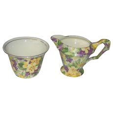 Vintage Chintz Cream and Sugar in a pattern called Primula