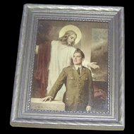 Vintage Print of Jesus watching over a soldier