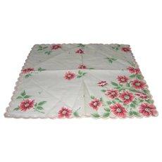 Vintage Handkerchief with pink flowers