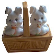 Vintage Basket of Bunnies Salt and Pepper Shakers