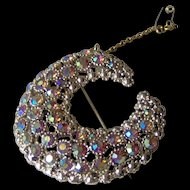 Vintage Crescent Shaped Aurora Boreallis Brooch