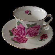 Vintage Cup and Saucer with Dark Pink Roses