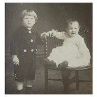 Vintage Real Photo Postcard of two children