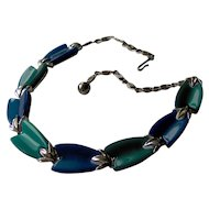 Vintage Blue and Green Necklace signed Lisner