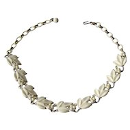 Vintage White and Silver Tone Necklace by Lisner