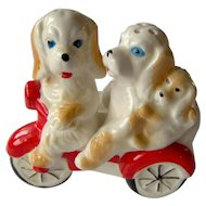Vintage Salt and Pepper Dogs on Scooter