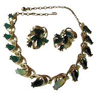 Vintage Green Coro Necklace and Earrings Set